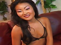 Asian, Blowjob, Brunette, Lingerie