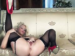 Babe, Big Tits, Panties, Stockings, Masturbation