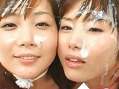 Asian, Bukkake, Facial, Japanese, Small Tits